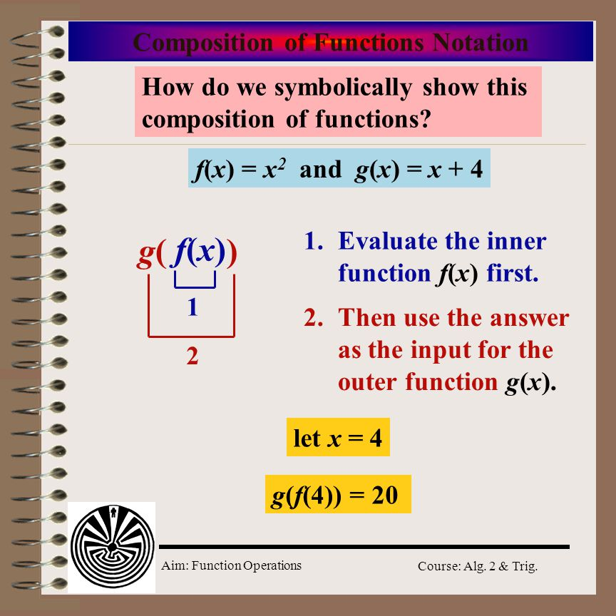 Aim: Function Operations Course: Alg. 2 & Trig. f(?) = ? 2 Composition of Functions f(x) = x 2 and g(x) = x + 4 1st input x 4242 1st output 16 2nd inp