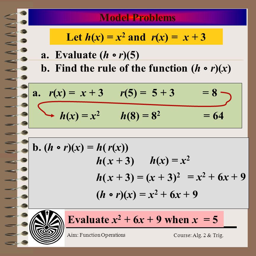 Aim: Function Operations Course: Alg. 2 & Trig. Model Problems Find the composition of f(x) = 4x with g(x) = 2 – x f(g(x)) = f(2 – x) g(x)g(x) Substit