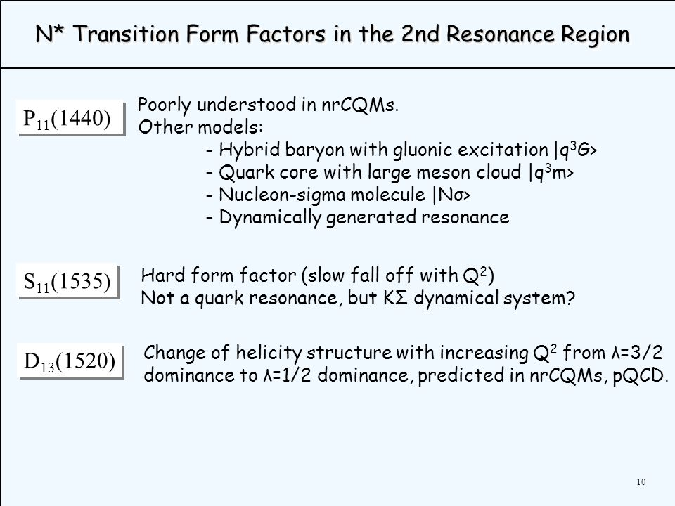 10 N* Transition Form Factors in the 2nd Resonance Region P 11 (1440) Poorly understood in nrCQMs.