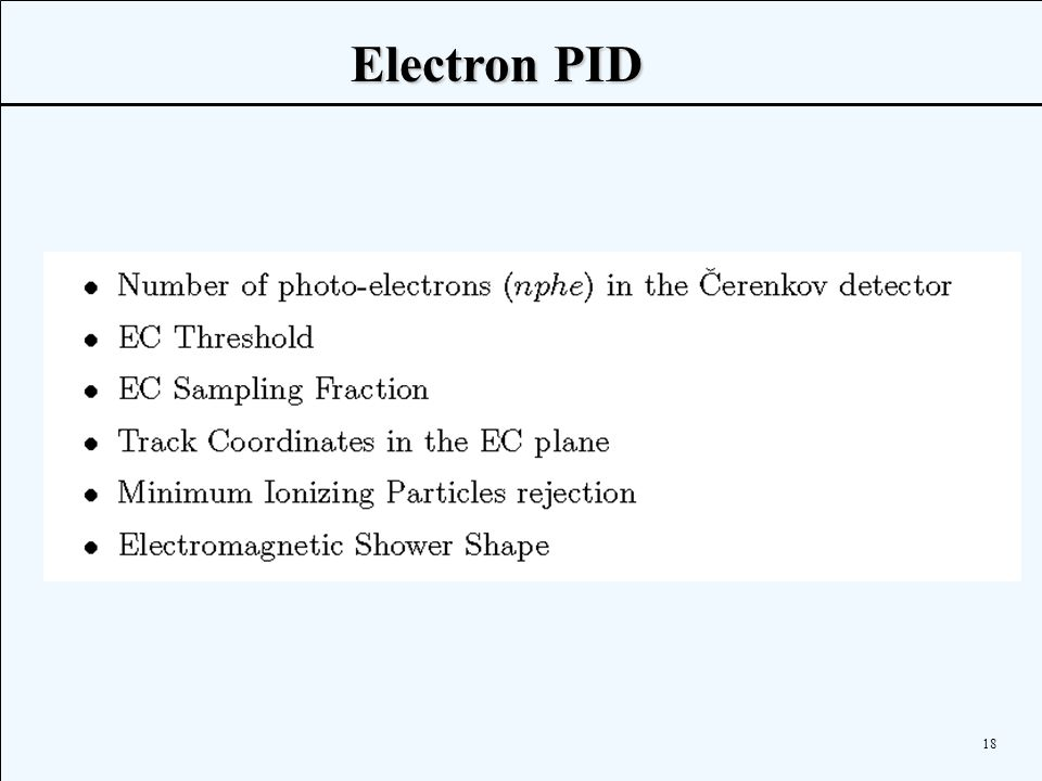 18  Electron PID