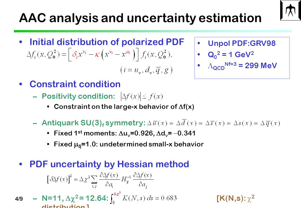 4/9 AAC analysis and uncertainty estimation Initial distribution of polarized PDF Constraint condition –Positivity condition: Constraint on the large-x behavior of  f(x) –Antiquark SU(3) f symmetry: Fixed 1 st moments:  u v =0.926,  d v =  0.341 Fixed  q =1.0: undetermined small-x behavior PDF uncertainty by Hessian method –N=11,  2 = 12.64: [K(N,s):  2 distribution ] Unpol PDF:GRV98 Q 0 2 = 1 GeV 2  QCD Nf=3 = 299 MeV