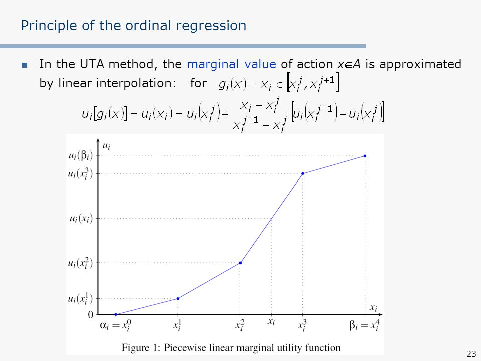 23 Principle of the ordinal regression In the UTA method, the marginal value of action xA is approximated by linear interpolation: for