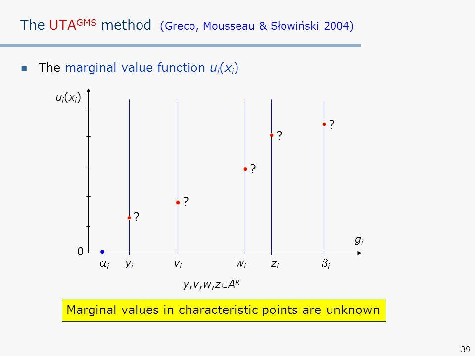 39 The UTA GMS method (Greco, Mousseau & Słowiński 2004) The marginal value function u i (x i ) ui(xi)ui(xi) gigi 0 ii yiyi ii wiwi zizi vivi .