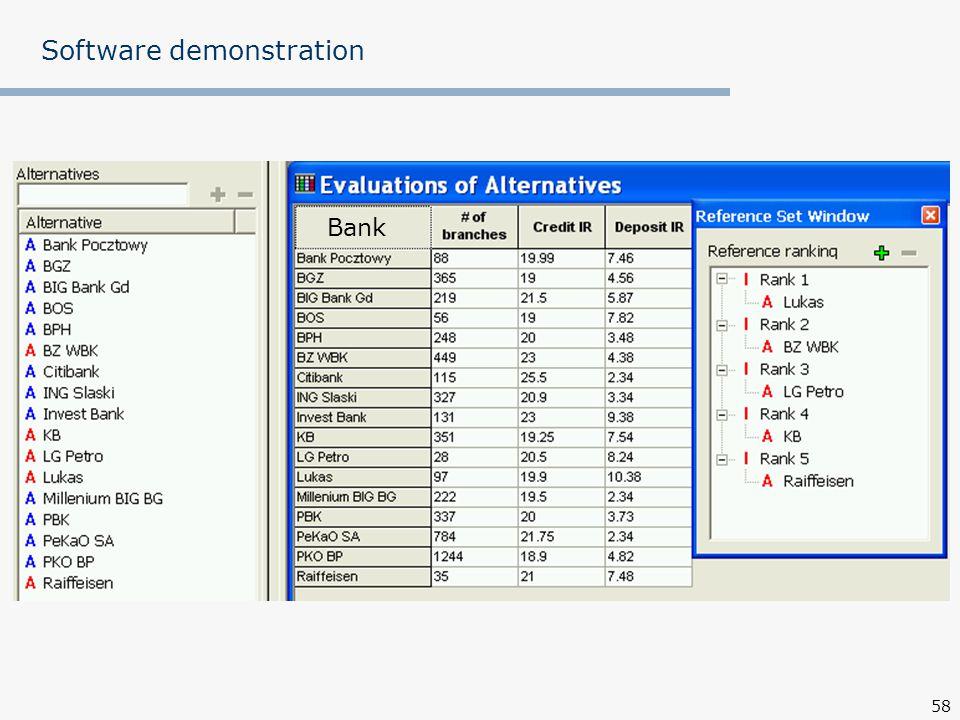 58 Software demonstration Bank