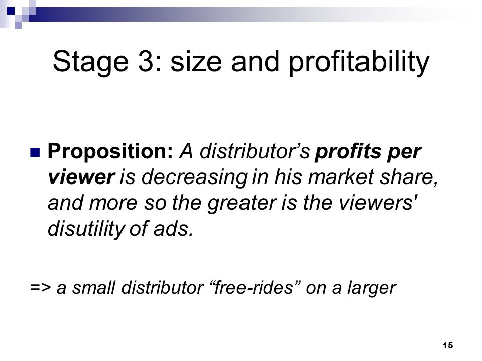 Stage 3: size and profitability Proposition: A distributor's profits per viewer is decreasing in his market share, and more so the greater is the viewers disutility of ads.