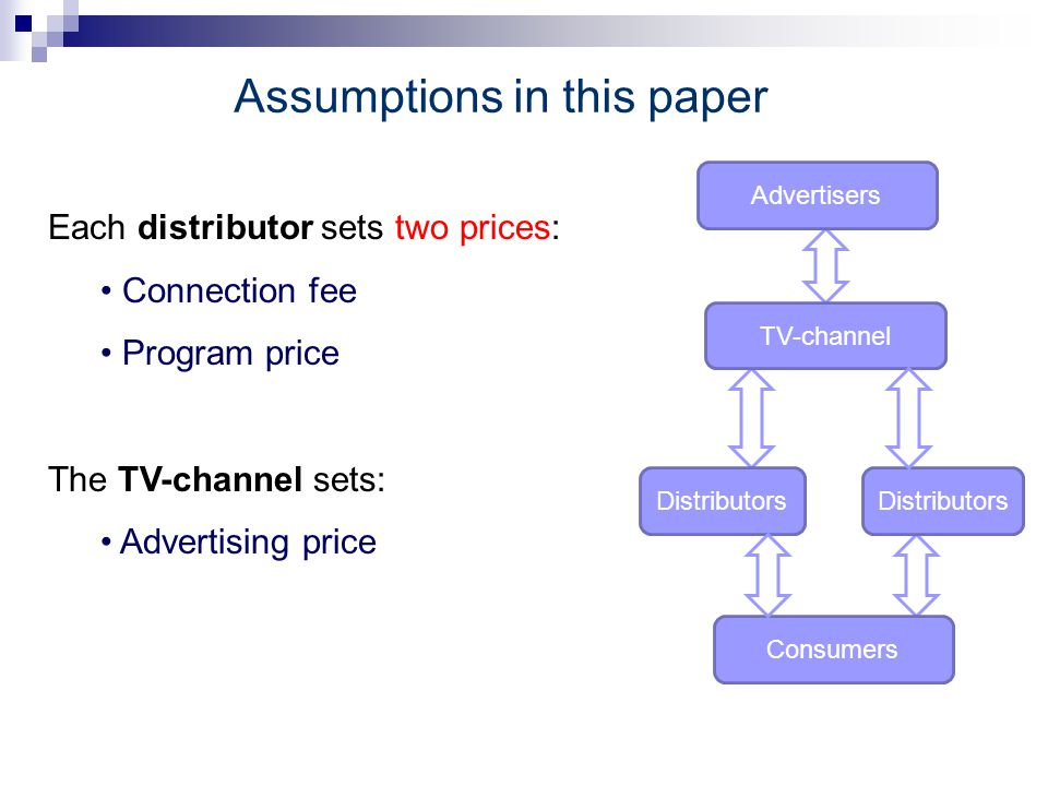 Assumptions in this paper Each distributor sets two prices: Connection fee Program price The TV-channel sets: Advertising priceying (locked in) Common advertising level Advertisers TV-channel Distributors Consumers Distributors