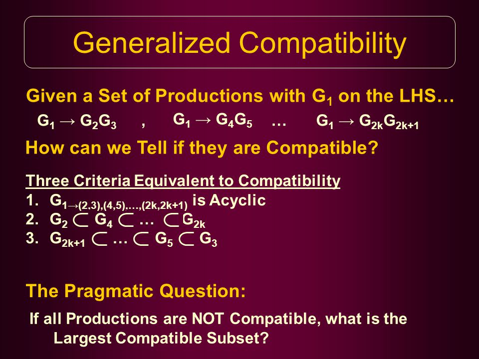 Generalized Compatibility Given a Set of Productions with G 1 on the LHS… G 1 → G 2 G 3 G 1 → G 4 G 5 …G 1 → G 2k G 2k+1 How can we Tell if they are Compatible , Three Criteria Equivalent to Compatibility 1.G 1→(2,3),(4,5),…,(2k,2k+1) is Acyclic 2.G 2 G 4 … G 2k 3.G 2k+1 … G 5 G 3 The Pragmatic Question: If all Productions are NOT Compatible, what is the Largest Compatible Subset