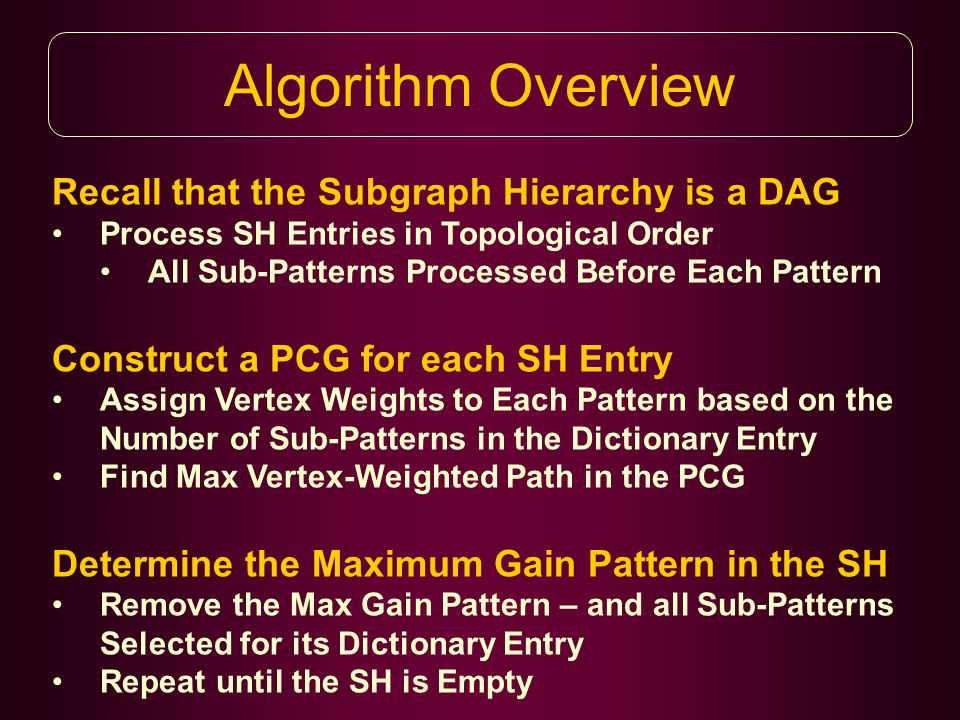 Algorithm Overview Recall that the Subgraph Hierarchy is a DAG Process SH Entries in Topological Order All Sub-Patterns Processed Before Each Pattern Construct a PCG for each SH Entry Assign Vertex Weights to Each Pattern based on the Number of Sub-Patterns in the Dictionary Entry Find Max Vertex-Weighted Path in the PCG Determine the Maximum Gain Pattern in the SH Remove the Max Gain Pattern – and all Sub-Patterns Selected for its Dictionary Entry Repeat until the SH is Empty