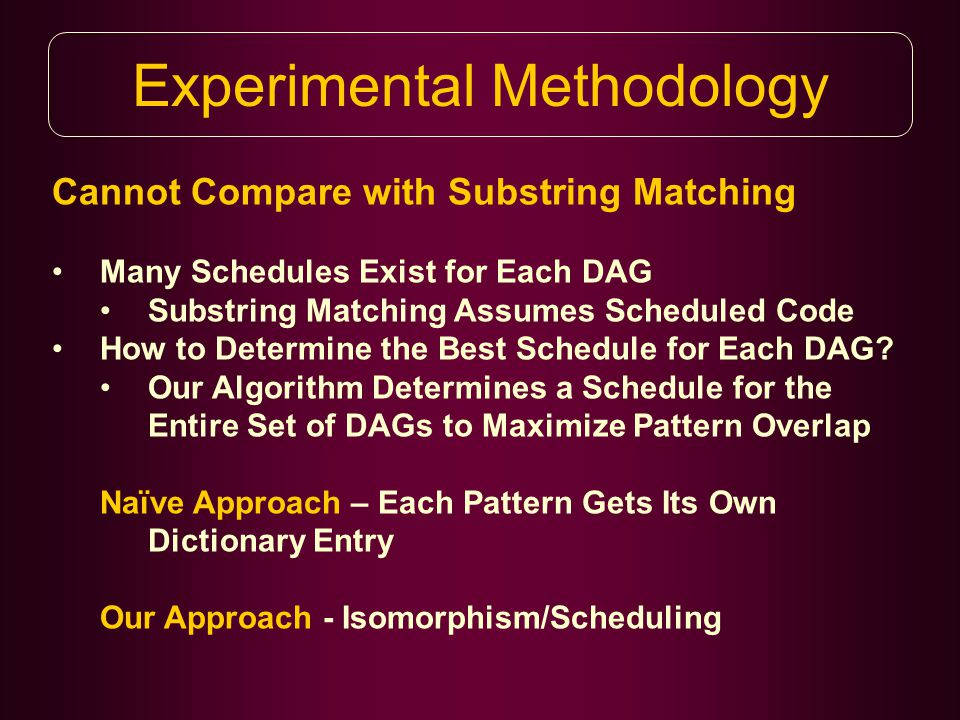 Experimental Methodology Cannot Compare with Substring Matching Many Schedules Exist for Each DAG Substring Matching Assumes Scheduled Code How to Determine the Best Schedule for Each DAG.