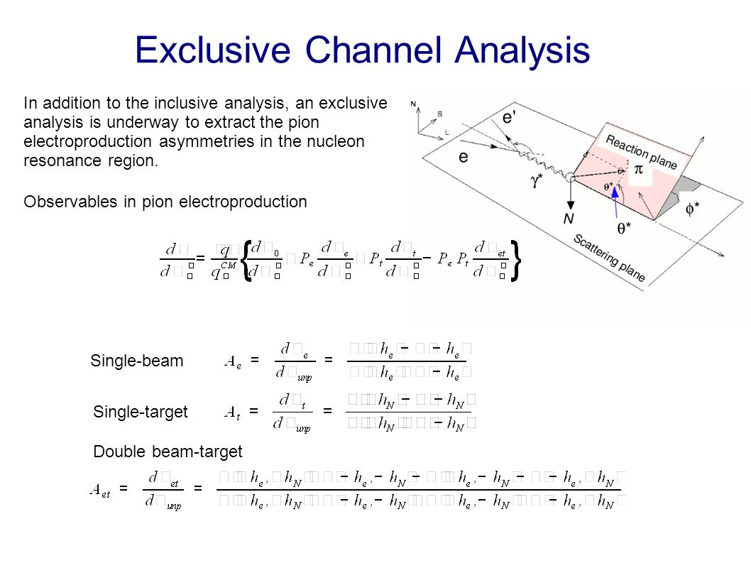 Exclusive Channel Analysis In addition to the inclusive analysis, an exclusive analysis is underway to extract the pion electroproduction asymmetries in the nucleon resonance region.