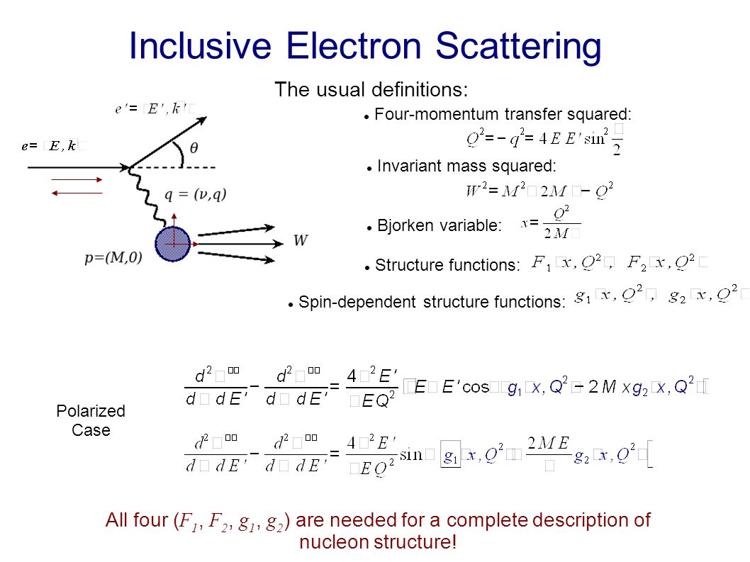 Inclusive Electron Scattering The usual definitions: Four-momentum transfer squared: Structure functions: Invariant mass squared: Bjorken variable: Spin-dependent structure functions: Polarized Case All four ( F 1, F 2, g 1, g 2 ) are needed for a complete description of nucleon structure.