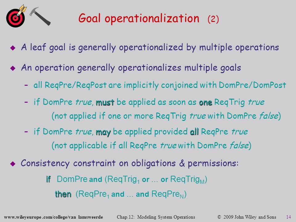 www.wileyeurope.com/college/van lamsweerde Chap.12: Modeling System Operations © 2009 John Wiley and Sons 14 Goal operationalization (2)  A leaf goal is generally operationalized by multiple operations  An operation generally operationalizes multiple goals –all ReqPre/ReqPost are implicitly conjoined with DomPre/DomPost mustone –if DomPre true, must be applied as soon as one ReqTrig true (not applied if one or more ReqTrig true with DomPre false) mayall –if DomPre true, may be applied provided all ReqPre true (not applicable if all ReqPre true with DomPre false)  Consistency constraint on obligations & permissions: if if DomPre and (ReqTrig 1 or … or ReqTrig M ) then then (ReqPre 1 and … and ReqPre N )