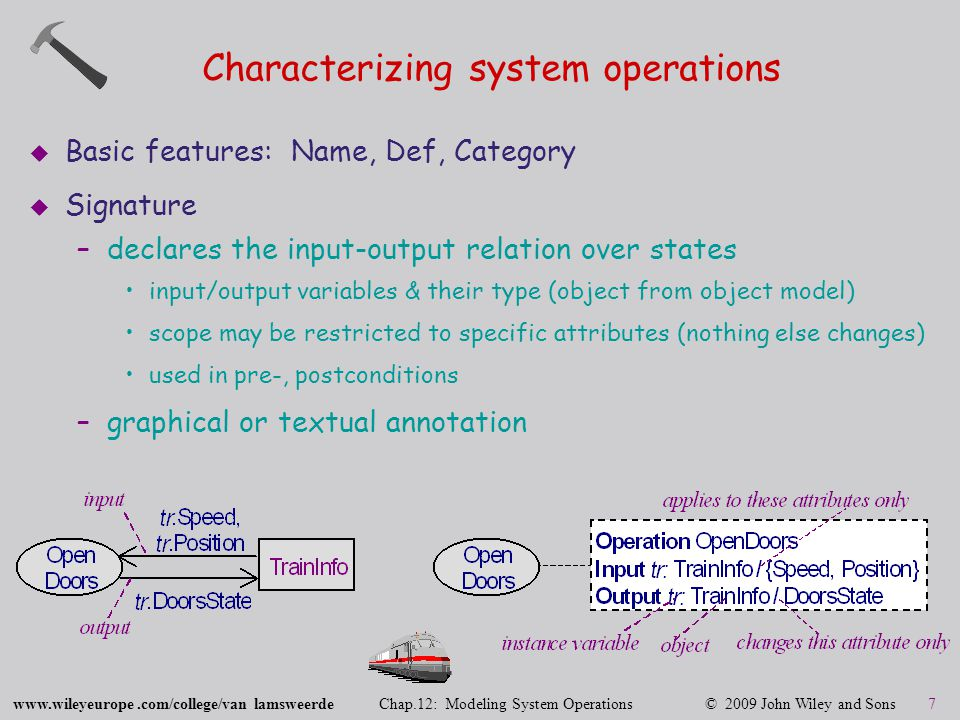 www.wileyeurope.com/college/van lamsweerde Chap.12: Modeling System Operations © 2009 John Wiley and Sons 7 Characterizing system operations  Basic features: Name, Def, Category  Signature –declares the input-output relation over states input/output variables & their type (object from object model) scope may be restricted to specific attributes (nothing else changes) used in pre-, postconditions –graphical or textual annotation