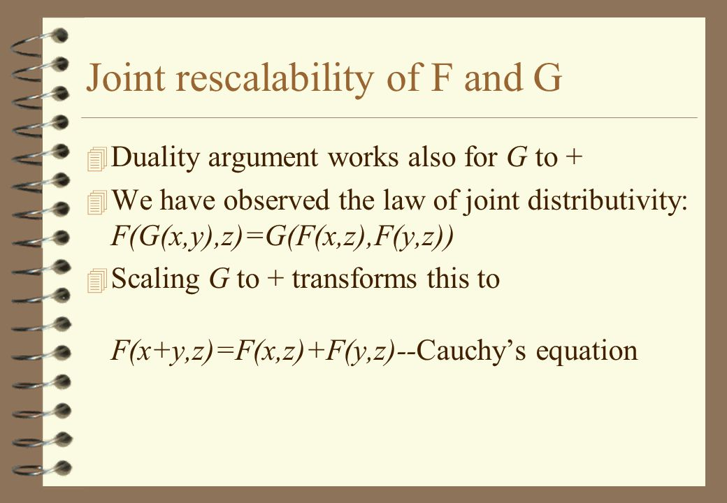 Joint rescalability of F and G 4 Duality argument works also for G to + 4 We have observed the law of joint distributivity: F(G(x,y),z)=G(F(x,z),F(y,z)) 4 Scaling G to + transforms this to F(x+y,z)=F(x,z)+F(y,z)--Cauchy's equation