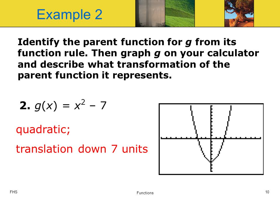 FHS Functions 10 Identify the parent function for g from its function rule.