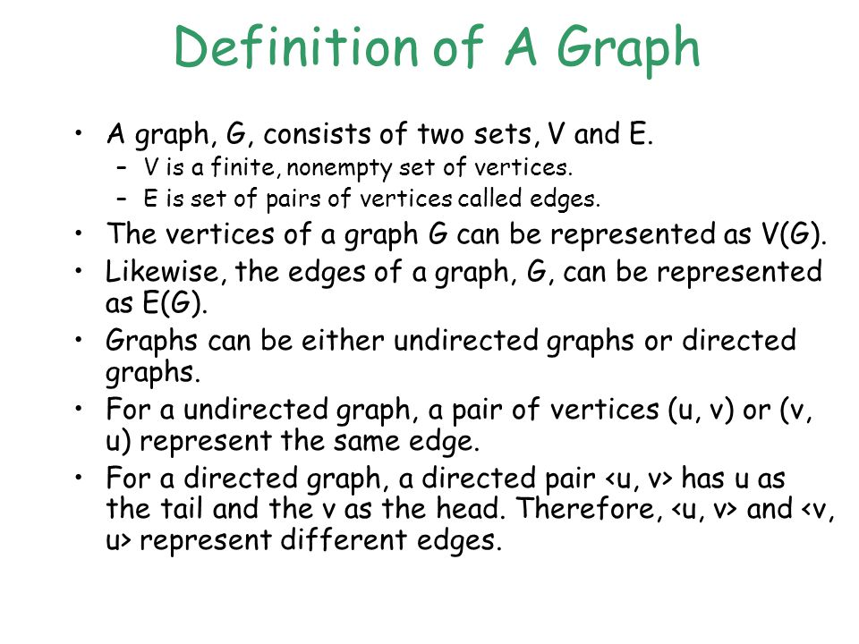 Definition of A Graph A graph, G, consists of two sets, V and E.