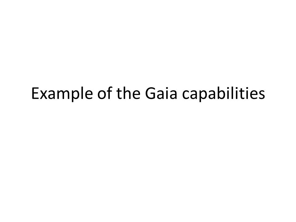 Example of the Gaia capabilities