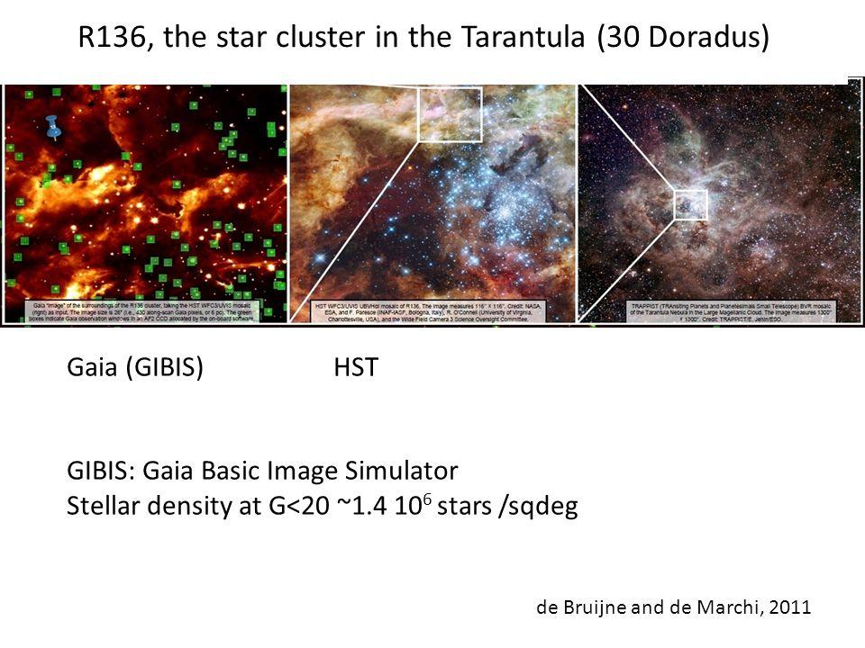 R136, the star cluster in the Tarantula (30 Doradus) Gaia (GIBIS) HST GIBIS: Gaia Basic Image Simulator Stellar density at G<20 ~1.4 10 6 stars /sqdeg de Bruijne and de Marchi, 2011