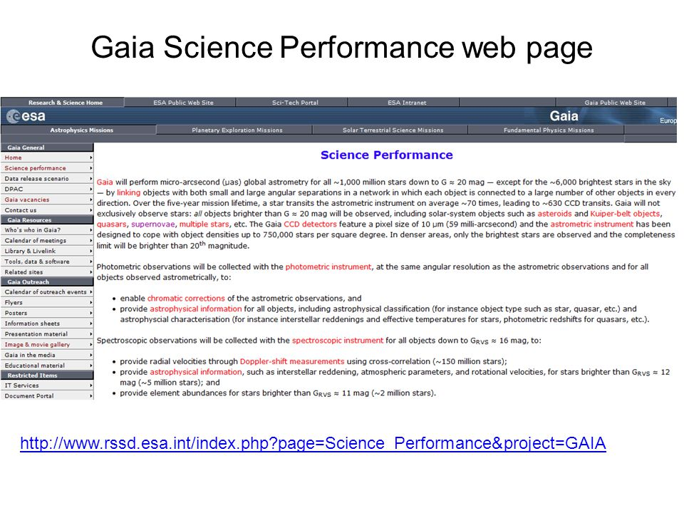 http://www.rssd.esa.int/index.php page=Science_Performance&project=GAIA Gaia Science Performance web page