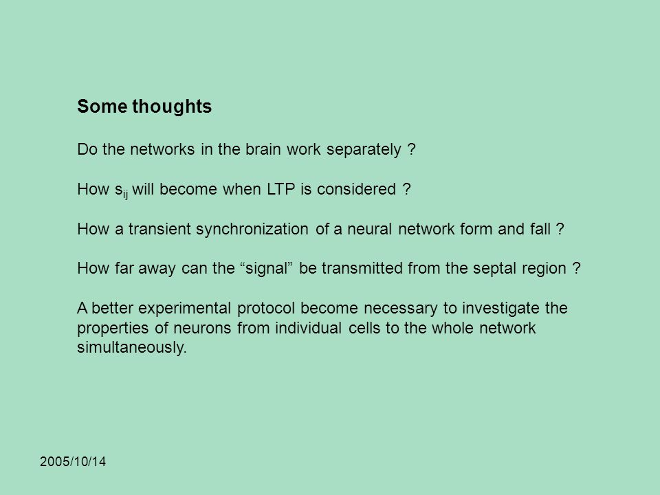 2005/10/14 Some thoughts Do the networks in the brain work separately .