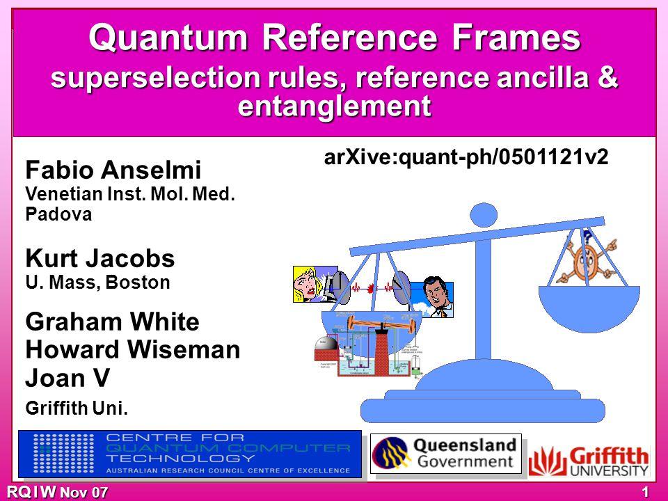 SSRs Work (purity) Ref & Asymmetry Entangle Trade off Etcetera RQ I W Nov 07 1 Fabio Anselmi Venetian Inst.