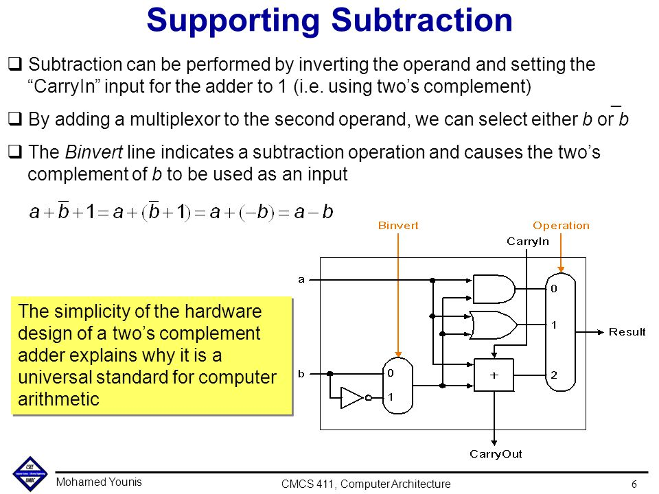 """Mohamed Younis CMCS 411, Computer Architecture 6 Supporting Subtraction q Subtraction can be performed by inverting the operand and setting the """"Carry"""