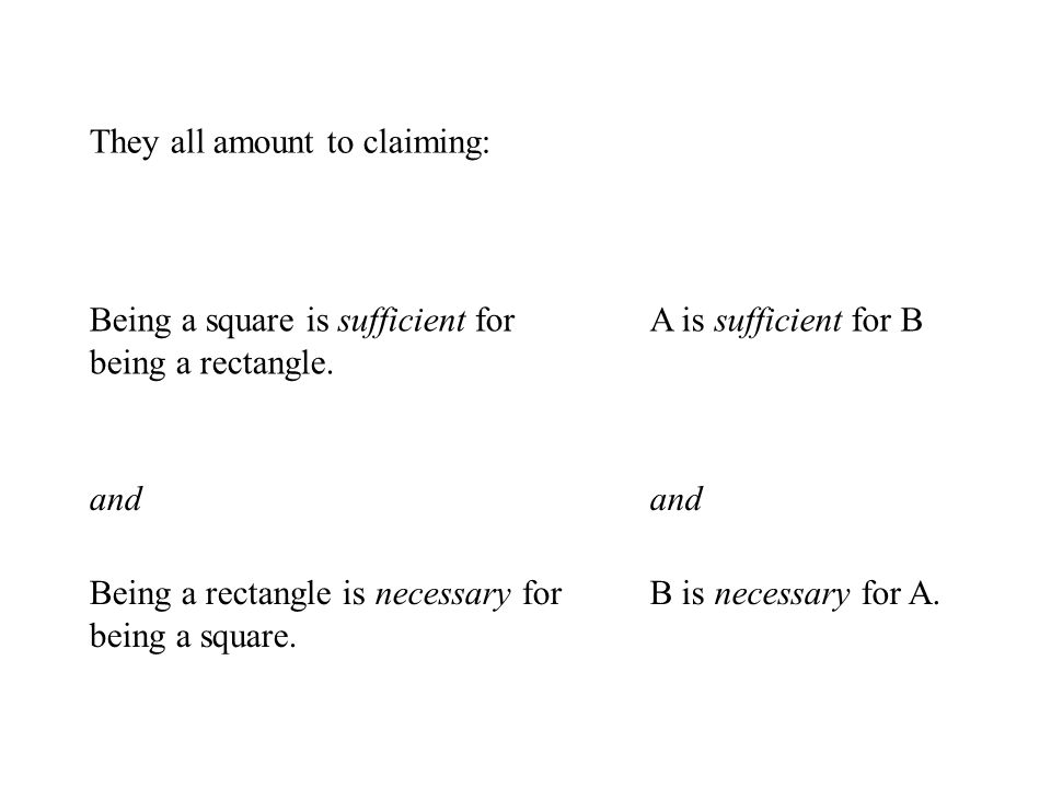 They all amount to claiming: Being a square is sufficient for being a rectangle.