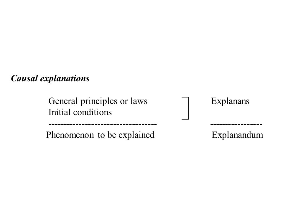 Causal explanations General principles or laws Explanans Initial conditions ----------------------------------- ----------------- Phenomenon to be explained Explanandum