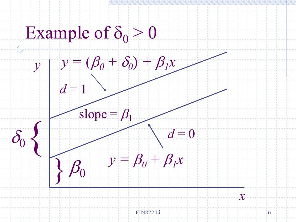 FIN822 Li66 Example of  0 > 0 x y { 00 } 00 y = (  0 +  0 ) +  1 x y =  0 +  1 x slope =  1 d = 0 d = 1