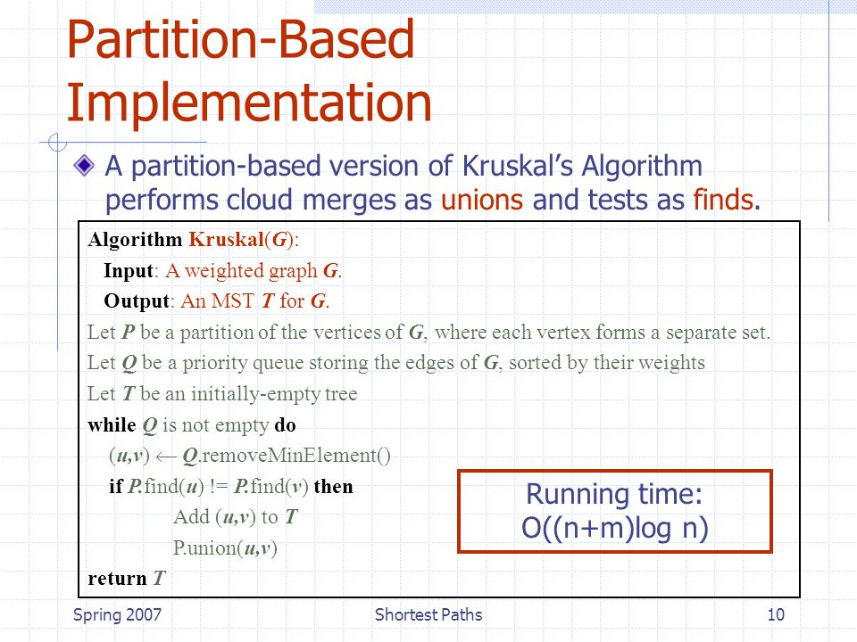 Spring 2007Shortest Paths10 Partition-Based Implementation A partition-based version of Kruskal's Algorithm performs cloud merges as unions and tests as finds.