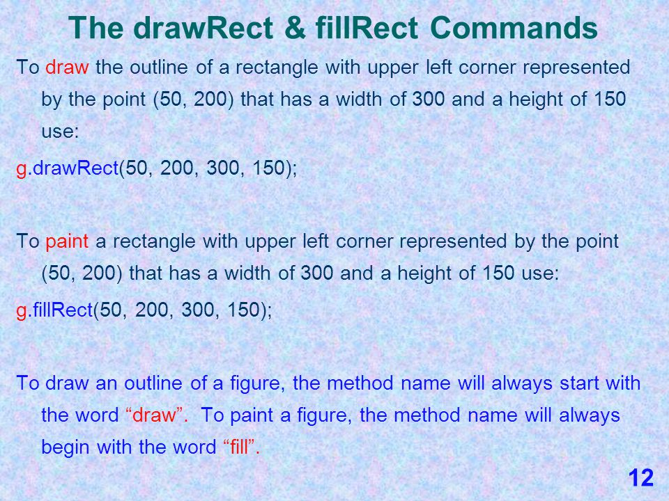 The drawRect & fillRect Commands To draw the outline of a rectangle, follow the general form of the drawRect command: g.drawRect(x, y, width, height); To do this you must know the point (x, y) which represent the upper- left corner of the rectangle and you must know the width and height of the rectangle.