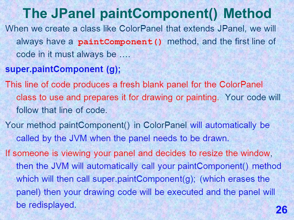 Drawing and Painting Web Page The drawing and painting commands web page discusses these precedding commands and also tells you how to change the font if you don't like the default font when using drawString.