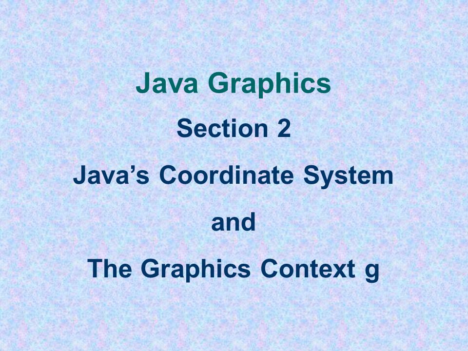 The GeometryApplet Driver File import javax.swing.*; import java.awt.*; public class GeometryApplet extends JApplet { public void init () { resize(800, 600); } public void paint (Graphics g) { super.paint(g); // ALL OTHER DRAWING AND PAINTING CODE HERE } 4 must have to erase and prepare background of applet window note the parameter g that is the graphics context