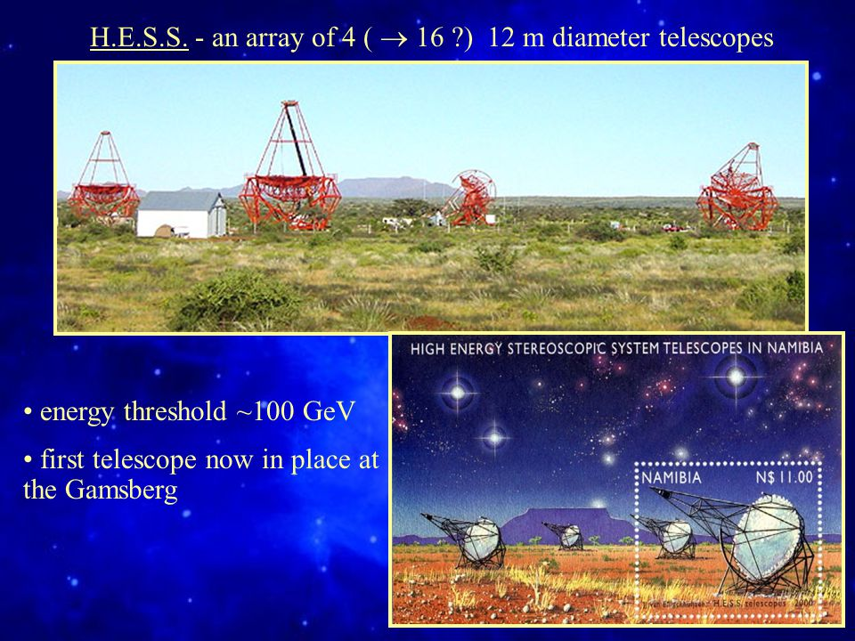 energy threshold ~100 GeV first telescope now in place at the Gamsberg H.E.S.S.