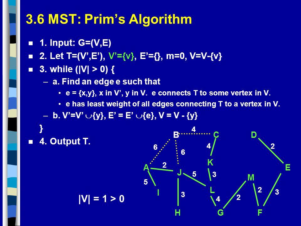 3.6 MST: Prim's Algorithm n 1. Input: G=(V,E) n 2. Let T=(V',E'), V'={v}, E'={}, m=0, V=V-{v} n 3. while (|V| > 0) { –a. Find an edge e such that e =