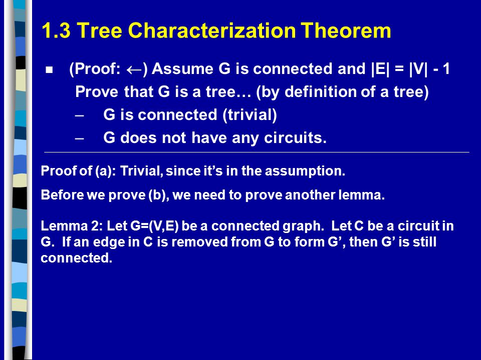 1.3 Tree Characterization Theorem (Proof:  ) Assume G is connected and |E| = |V| - 1 Prove that G is a tree… (by definition of a tree) –G is connected (trivial) –G does not have any circuits.