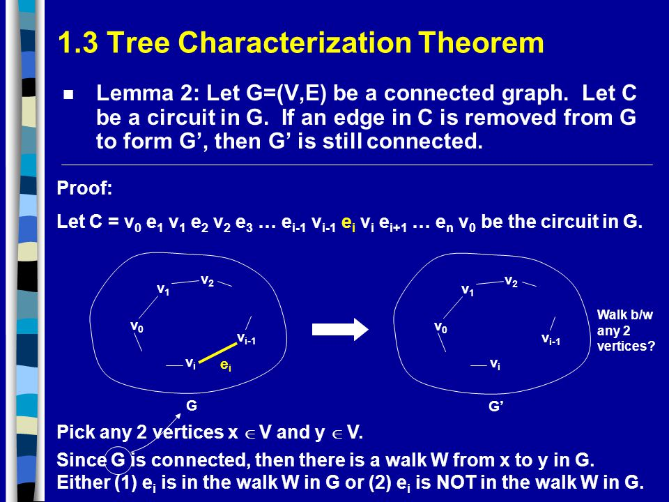 1.3 Tree Characterization Theorem n Lemma 2: Let G=(V,E) be a connected graph.