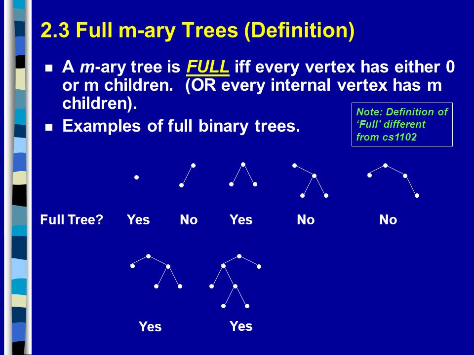 2.3 Full m-ary Trees (Definition) n A m-ary tree is FULL iff every vertex has either 0 or m children.
