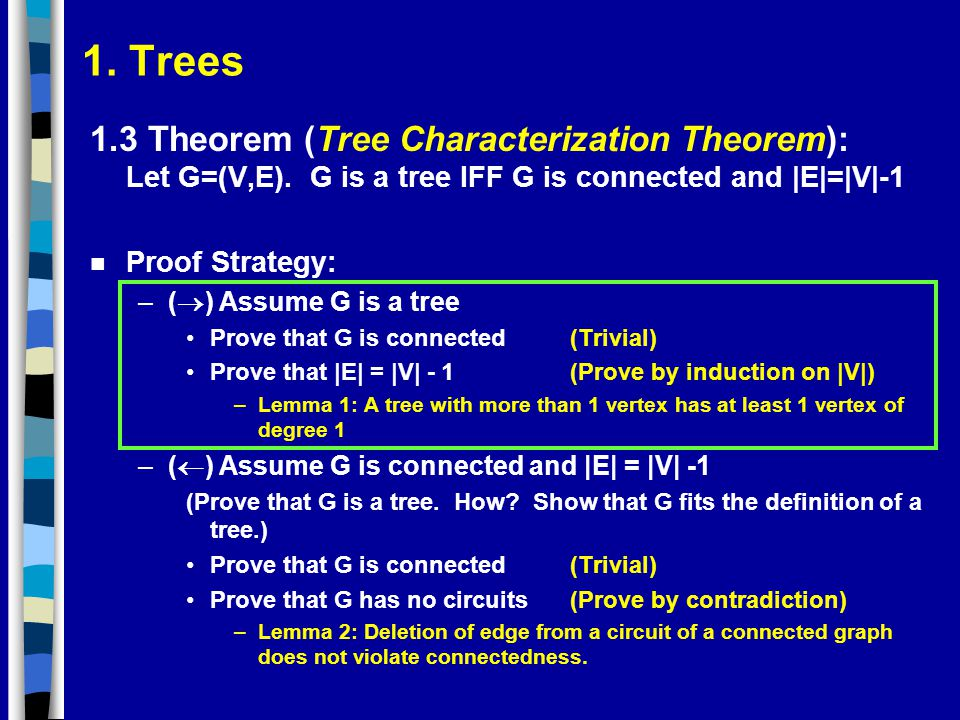 1. Trees 1.3 Theorem (Tree Characterization Theorem): Let G=(V,E). G is a tree IFF G is connected and |E|=|V|-1 n Proof Strategy: –(  ) Assume G is a
