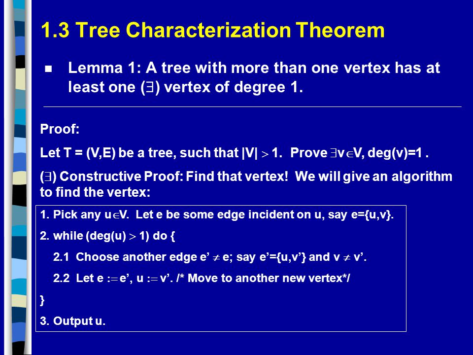 1.3 Tree Characterization Theorem Lemma 1: A tree with more than one vertex has at least one (  ) vertex of degree 1.