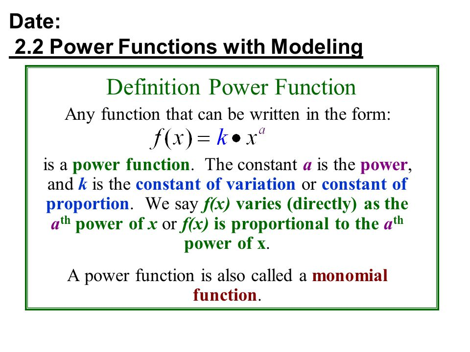 Date: 2.2 Power Functions with Modeling Definition Power Function Any function that can be written in the form: is a power function.