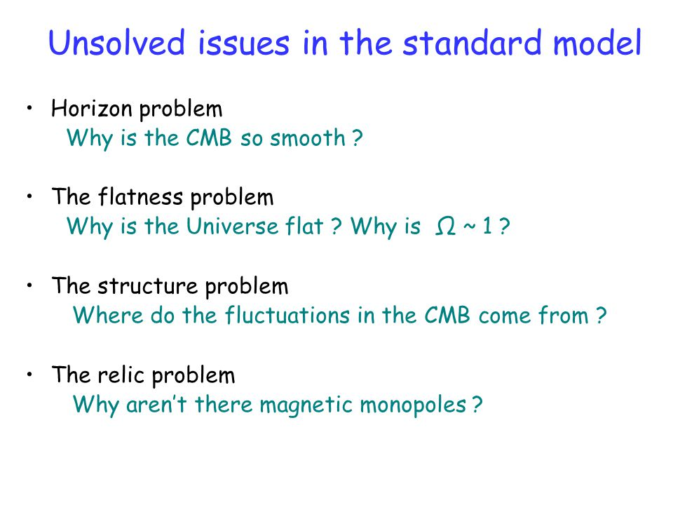 Unsolved issues in the standard model Horizon problem Why is the CMB so smooth .
