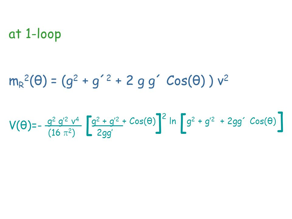 at 1-loop m R 2 (θ) = (g 2 + g´ 2 + 2 g g´ Cos(θ) ) v 2 V(θ)=- g 2 g' 2 v 4 g 2 + g' 2 + Cos(θ) ln g 2 + g' 2 + 2gg´ Cos(θ) (16  2 ) 2gg' [ ]2]2 [ ]