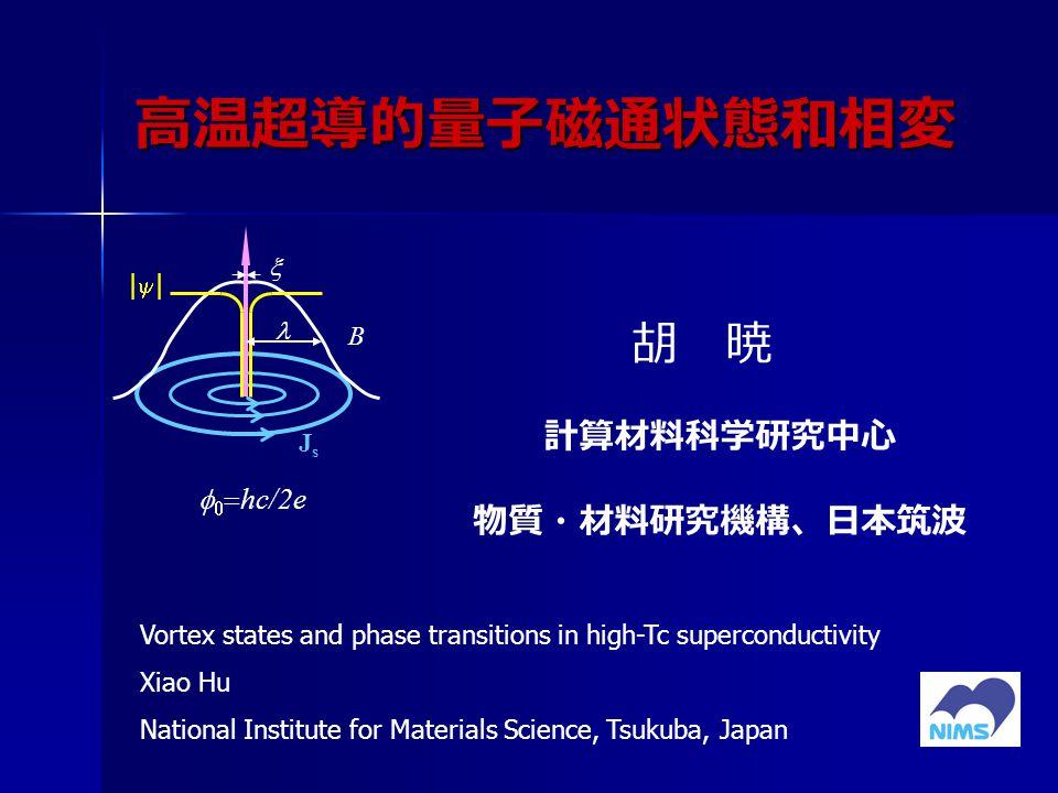 高温超導的量子磁通状態和相変 胡 暁 計算材料科学研究中心 物質・材料研究機構、日本筑波    hc/2e |||| B JsJs  Vortex states and phase transitions in high-Tc superconductivity Xiao Hu National Institute for Materials Science, Tsukuba, Japan