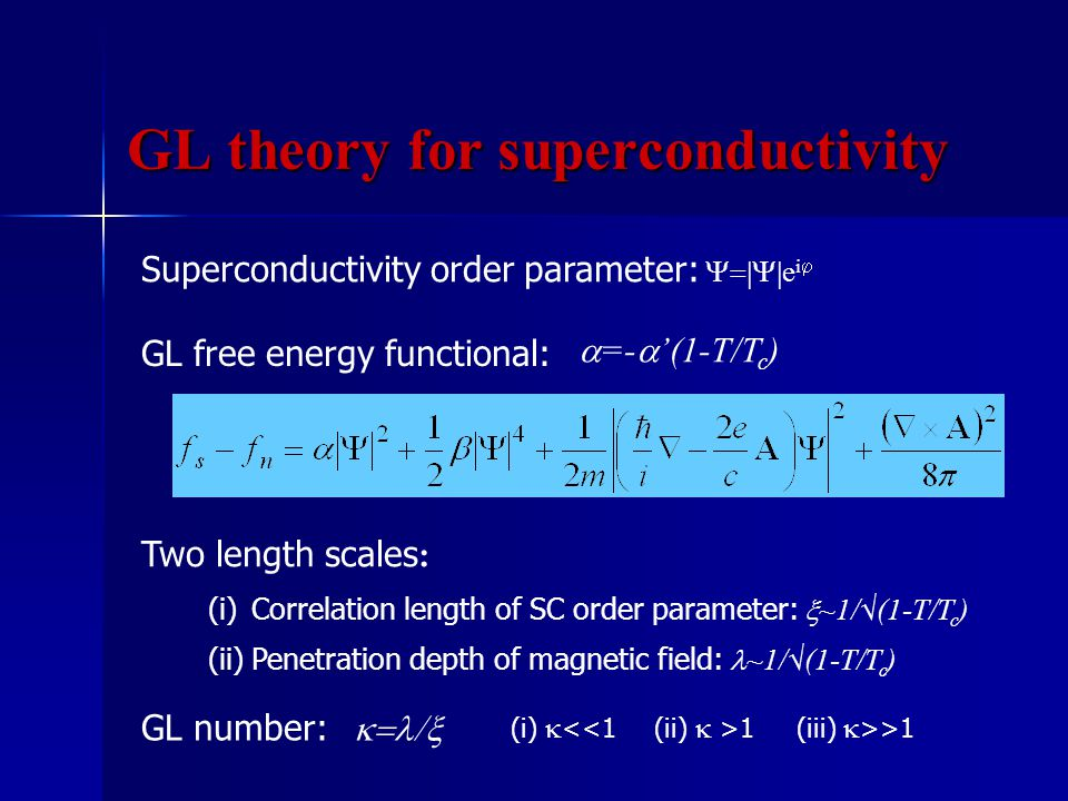 GL theory for superconductivity Superconductivity order parameter:  e i  GL free energy functional:  =-  '(1-T/T c ) Two length scales : (i)Correlation length of SC order parameter:  ~1/√(1-T/T c ) (ii) Penetration depth of magnetic field: ~1/√(1-T/T c ) GL number:  (i)  <<1(ii)  >1(iii)  >>1