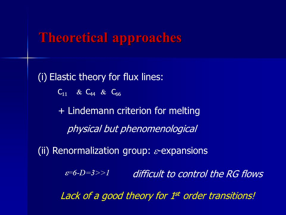 (i)Elastic theory for flux lines: C 11 & C 44 & C 66 (ii) Renormalization group:  -expansions Lack of a good theory for 1 st order transitions.