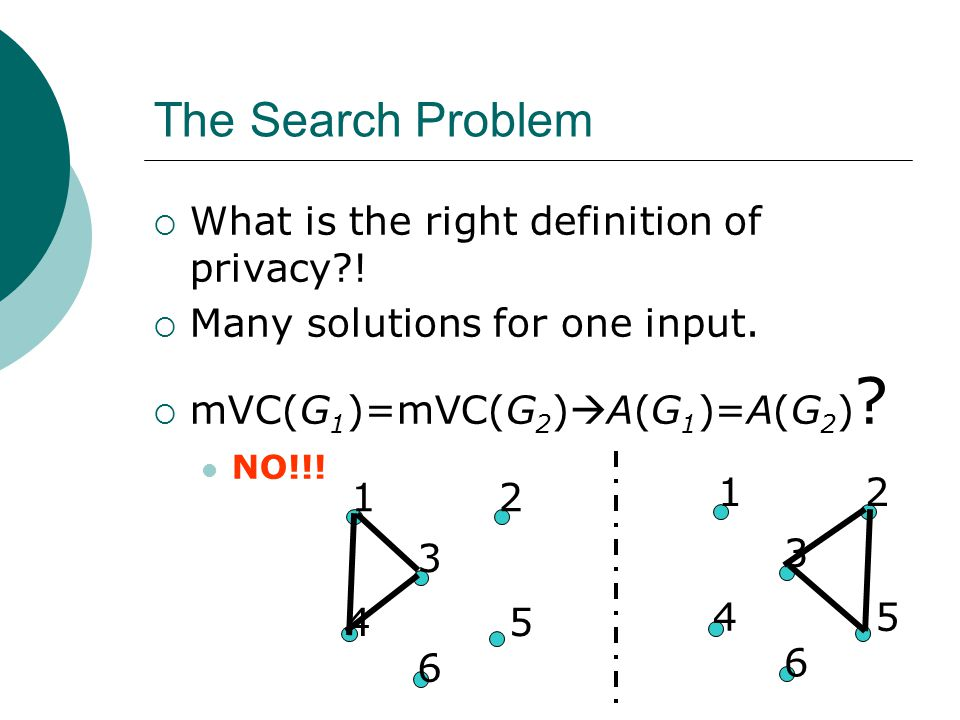 The Search Problem  What is the right definition of privacy .