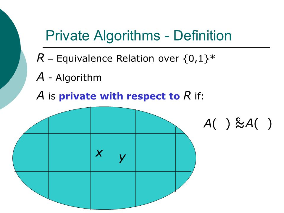 Private Algorithms - Definition R – Equivalence Relation over {0,1}* A - Algorithm A is private with respect to R if: x y A( ) ≈ c x y