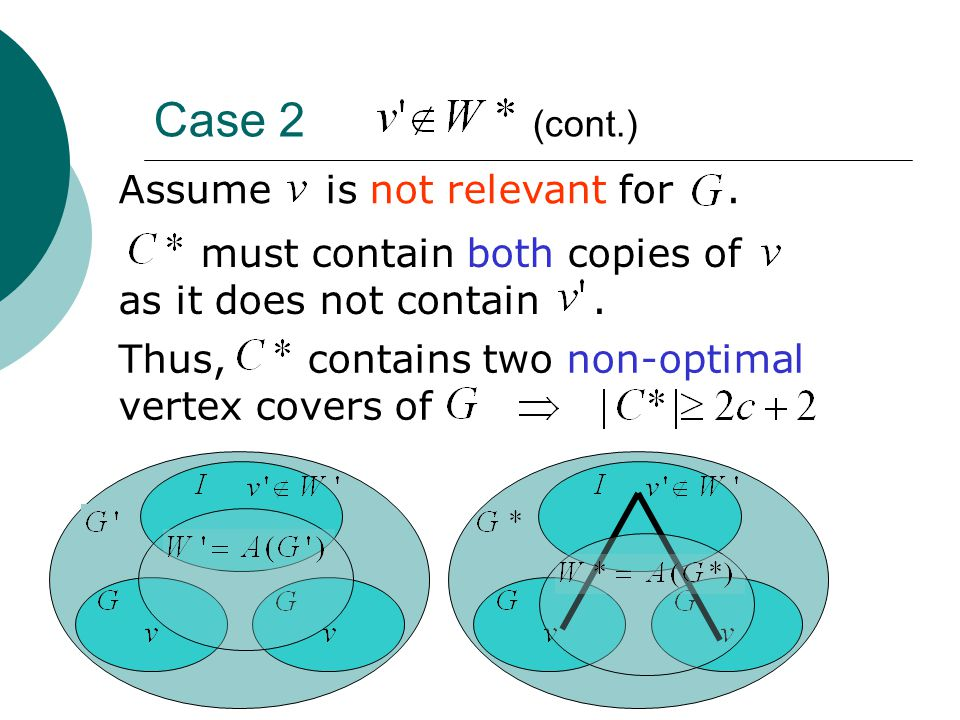 Case 2 (cont.) Assume is not relevant for. must contain both copies of as it does not contain.