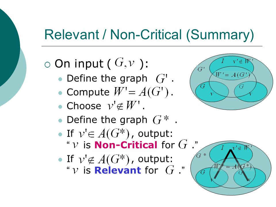 Relevant / Non-Critical (Summary)  On input ( ): Define the graph.